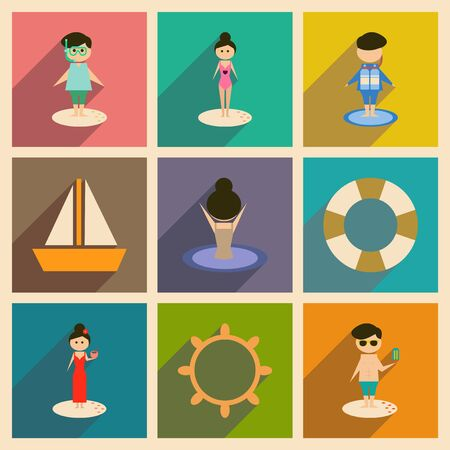 people relaxing: Concept of flat icons with long  shadow people relaxing beach Illustration