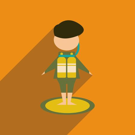 Flat web icon with long  shadow diver Illustration