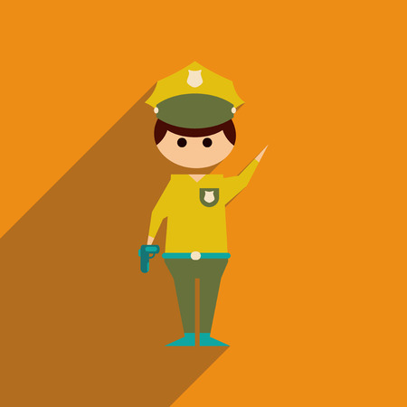 gorra policía: icono de la web oficial de policía plana con larga sombra