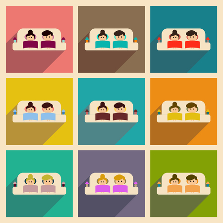 woman on couch: Concept flat icons with long  shadow man and woman couch Illustration