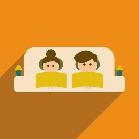 woman on couch: Flat web icon with  long shadow man and woman couch Illustration