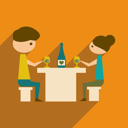 Flat web icon with  long shadow husband wife dinner