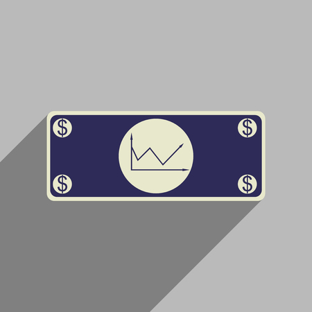 financial graph: Flat web icon with long  shadow financial graph