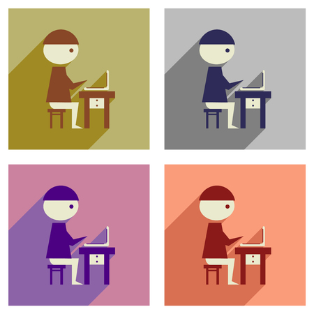 man with laptop: Concept of flat icons with  long shadow man laptop Illustration