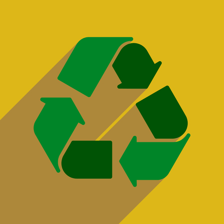 environmentalist: Flat web icon with long  shadow arrows recycling