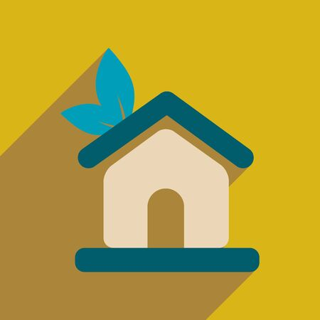 bio safety: Flat web icon with long  shadow Eco-house Illustration