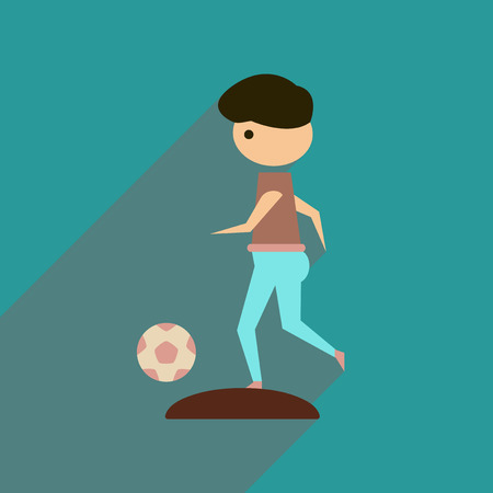 Flat web icon with long  shadow  football player