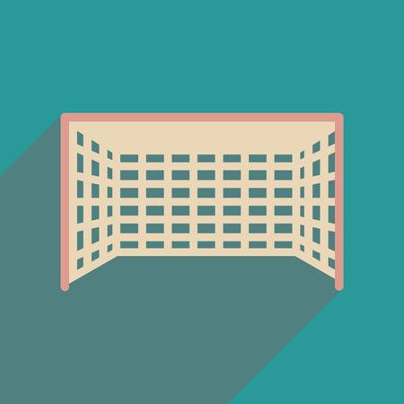 football goal: Flat web icon with long  shadow  football goal