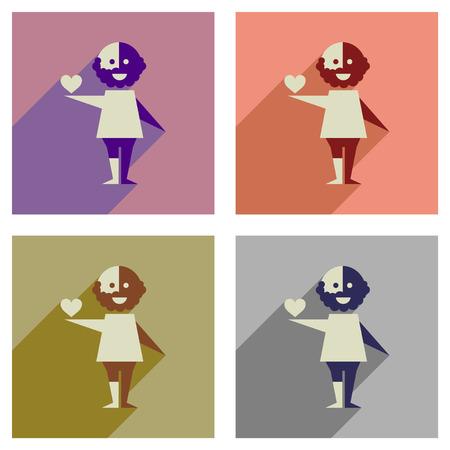 racismo: Concepto de iconos planos con una larga sombra hay racismo