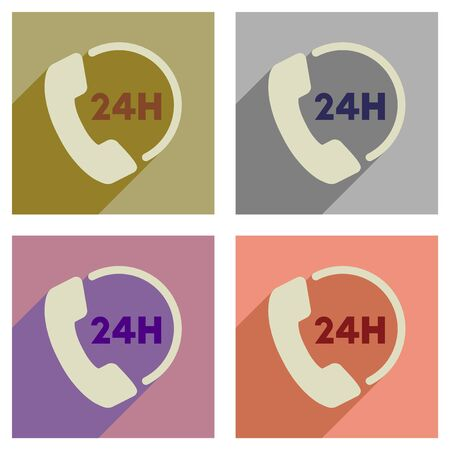 hot line: Concept of flat icons with long  shadow hot line