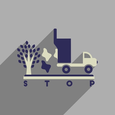 antipollution: Flat web icon with long  shadow no environmental pollution Illustration