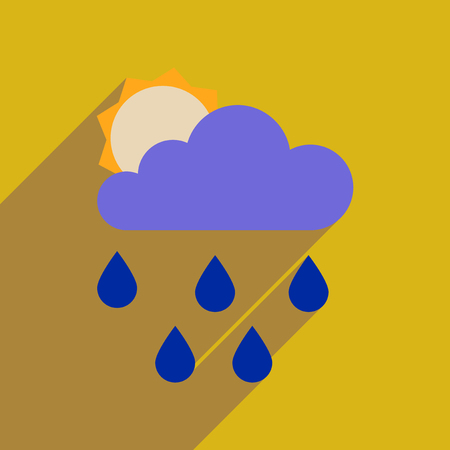 Flat web icon with long  shadow sun clouds rain Illustration