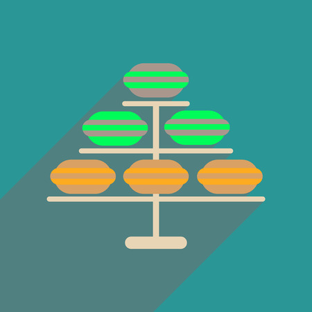 Flat web icon with long  shadow macaroon