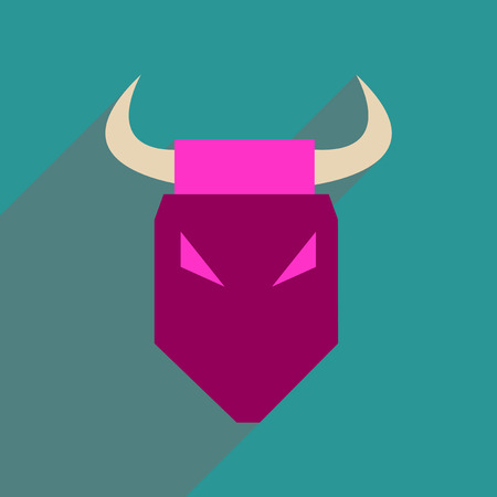 zodiac anger: Flat web icon with long  shadow bull