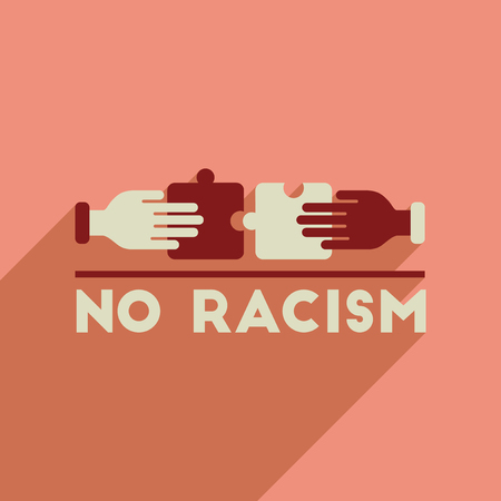 racism: Flat web icon with long  shadow racism fight