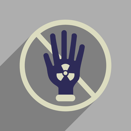 caution chemistry: Flat web icon with long  shadow toxic symbol