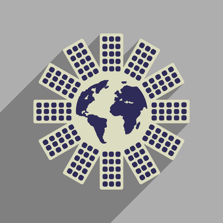 flat earth: Flat web icon with long  shadow Earth house Illustration