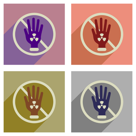 biological hazards: Concept of flat icons with long  shadow toxic symbol Illustration