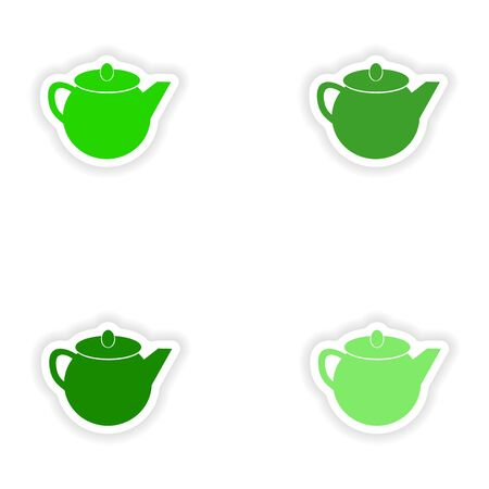 assembly realistic sticker design on paper teapot Illustration