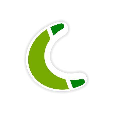 paper sticker Australian boomerang on white background Illustration