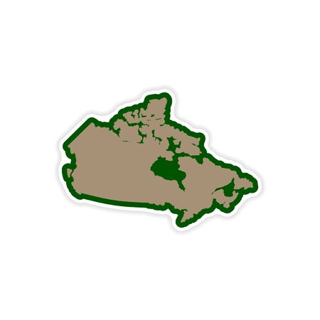 newfoundland: paper sticker Canadian map on white background