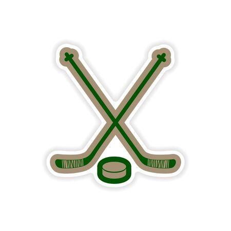 puck: paper sticker hockey sticks and puck on white background