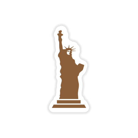 paper sticker The Statue of Liberty on white background Illustration