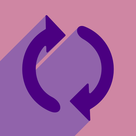 Flat style icon with long shadow arrow