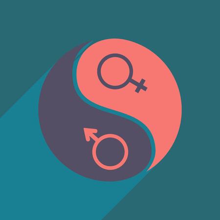 Vlak met schaduw icoon en mobiele applicatie gelijkheid van de geslachten
