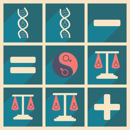 Flat met schaduwconcept en gelijkheid van mobiele toepassingen van menselijke geslachten