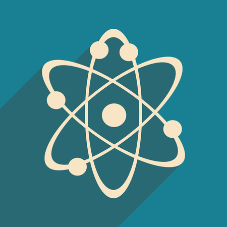 Flat with shadow icon and mobile application atoms of the molecule Illustration