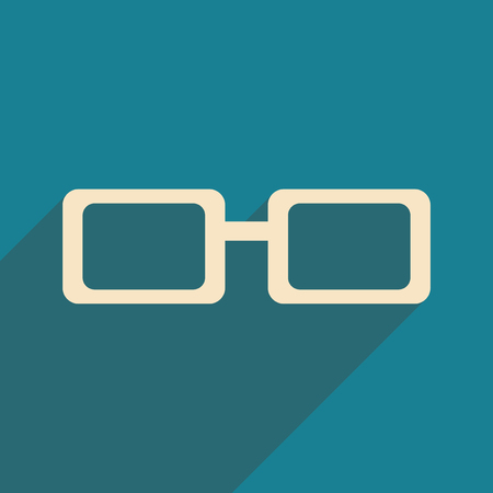 spectacles: Flat with shadow icon and mobile application spectacles