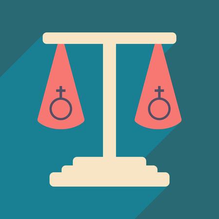 Flat met schaduwpictogram en seksuele gelijkheid voor mobiele toepassingen Stock Illustratie