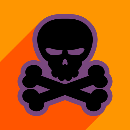 Flat with shadow icon and mobile application Halloween skull bones Illustration