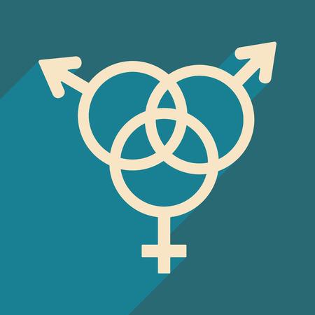 Flat met schaduwpictogram en gelijkheid van mobiele toepassingen van de geslachten