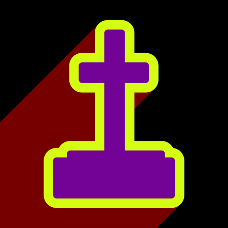Flat with shadow icon and mobile application headstone Illustration