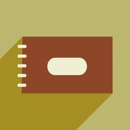 spiral notebook: Flat with shadow icon and mobile application notebook spiral