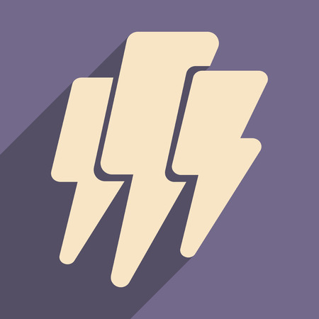 thunder and lightning: Flat with shadow icon and mobile application thunder Lightning