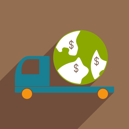 Flat with shadow icon and mobile application delivery vehicle world