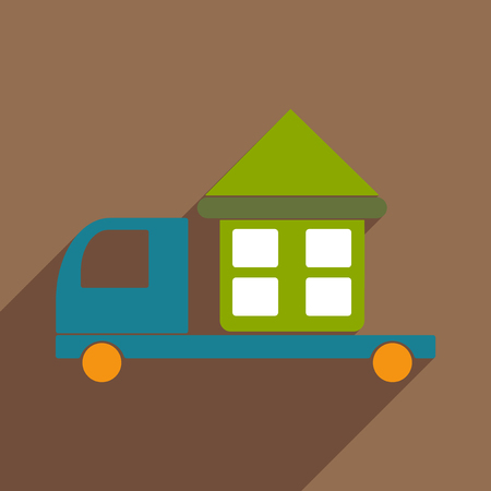 Flat with shadow icon and mobile application car home delivery Illustration