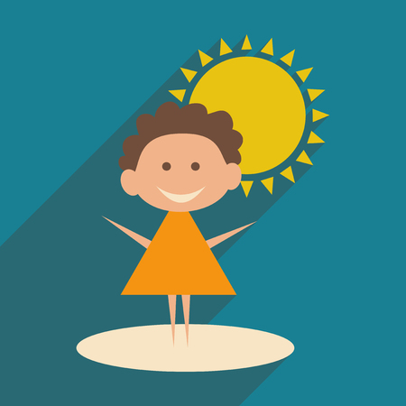 baby playing toy: Flat with shadow icon and mobile application baby walk Illustration