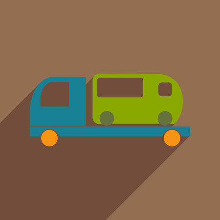 Flat with shadow icon and mobile application car bus service