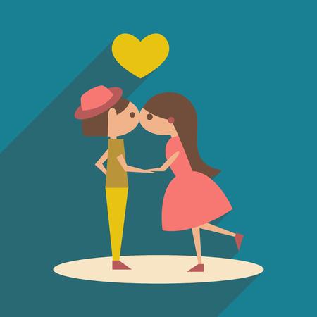 innamorati che si baciano: Piatto con l'icona ombra e mobile bacio applicazione Vettoriali