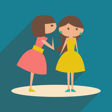 two friends talking: Flat with shadow icon and mobile application female conversation