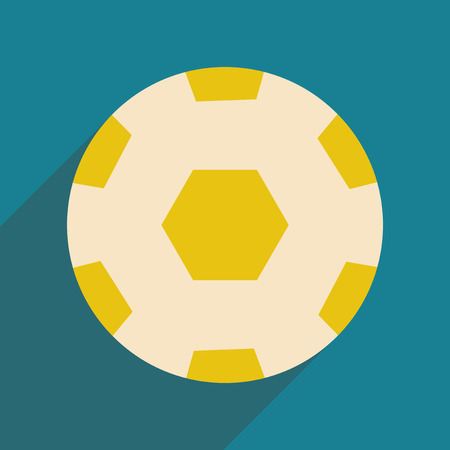 Flat with shadow icon and mobile application soccer ball Illustration