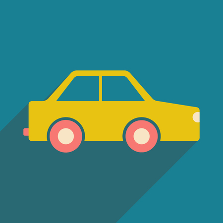 Flat with shadow icon and mobile application toy car Illustration