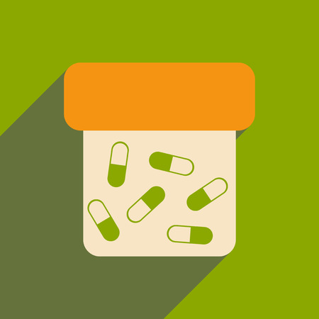 Flat with shadow icon and mobile application bottle of pills Illustration