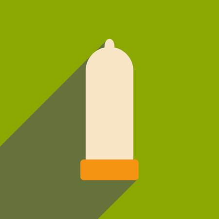 Flat with shadow icon and mobile application condom Illustration