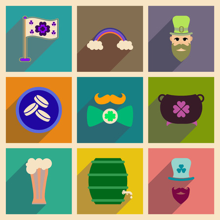 Concept of flat icons with long shadow St. Patricks Festival