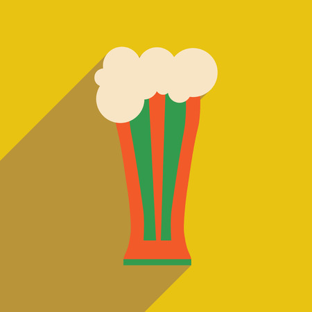 Flat web icon with long shadow glass of beer
